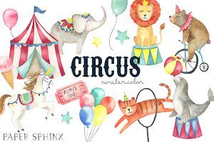 Watercolor Circus Clipart Pack