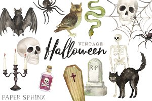 Vintage Halloween Clipart Pack