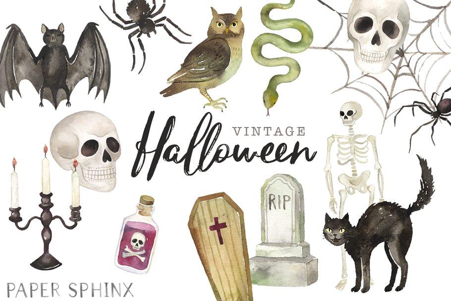 Halloween Vintage Clipart.Vintage Halloween Clipart Pack