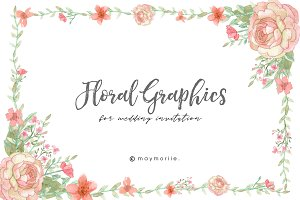 Floral Graphic Wedding Invitation 03