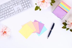 Multicolored sticky note stickers on