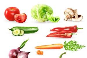 Vegetables decorative icons set