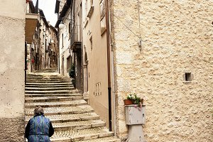 Staircase with a grandmother in the