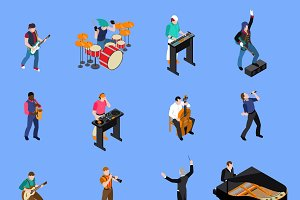 Musicians isometric icons set