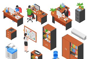 Isometric office workplace elements