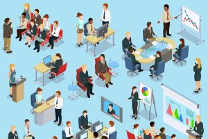 Business coaching isometric icons