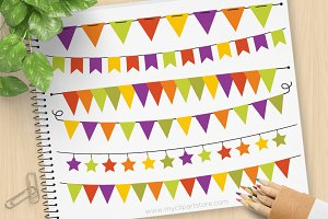 Halloween Bunting Clipart + SVG