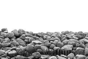 Pile of stones and rocks isolated