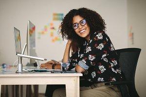 Woman entrepreneur sitting