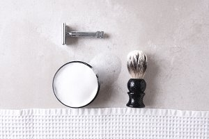 Safety razor with towel, brush and s