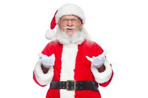 Christmas. Good Santa Claus in white