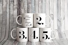 5 coffee mug mockup five cup mock up