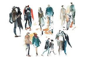 Walking people Outerwear Autumn