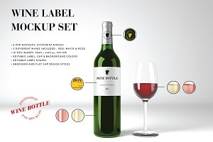 Wine Mockup Set - Photoshop PSD