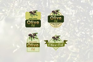 4 Natural Olive Oil Emblem Logo