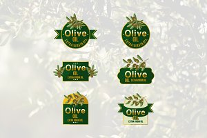 6 Natural Olive Oil Fruit Leaf Logo