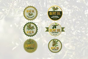 6 Natural Olive Oil Leaf Circle Logo