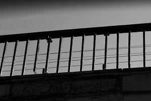 Diagonal black and white bridge bord
