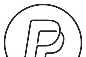 Pp letter logo stroke icon, logo