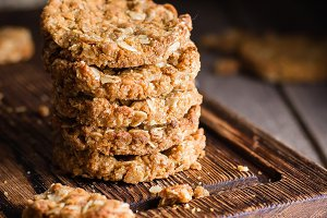 Homemade oatmeal cookies on board