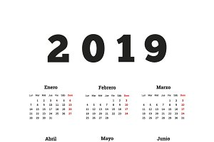 2019 year simple calendar in spanish