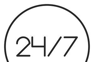 24 on 7 stroke icon, logo