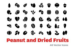 40 Peanut and Dried Fruits Icons