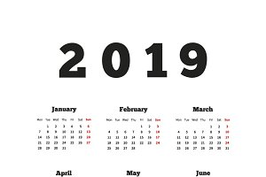 Calendar on 2019 year on english