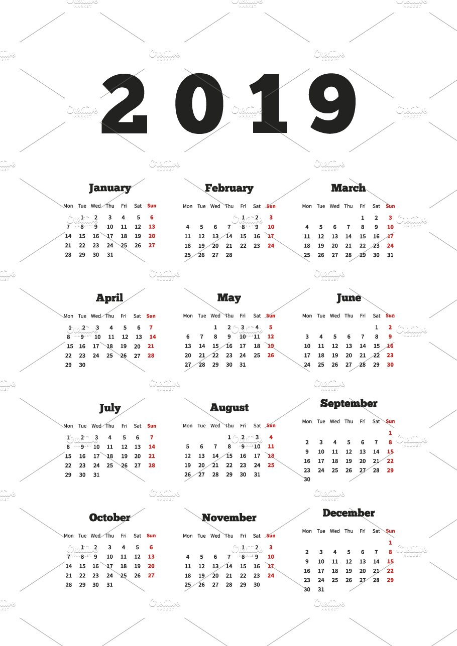 calendar on 2019 year on english illustrations creative market