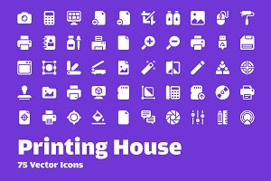 75 Printing House Vector Icons