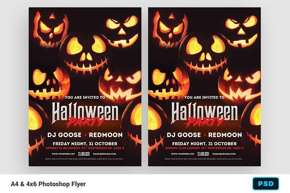 halloween invitation flyer flyer templates creative market