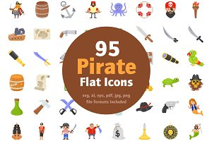 95 Flat Pirate Icons