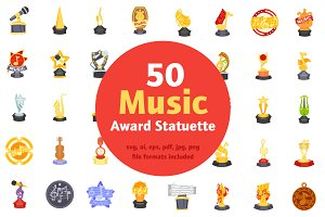 50 Music Award Statuette Vectors