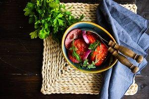 Organic tomatoes salad