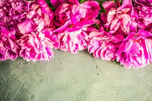 Summer floral flatlay with peony