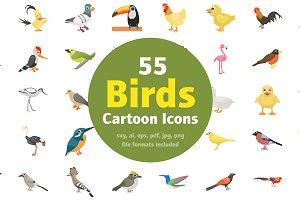 55 Cartoon Birds Vector Icons
