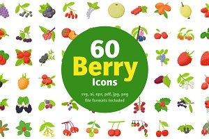 60 Berry Fruits Flat Icons
