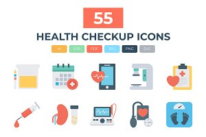 55 Health Checkup Flat Icons