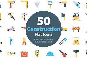 50 Flat Construction Icons