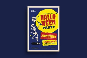 Old Retro Halloween Party Flyer