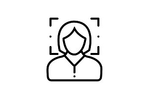 Female face recognition icon