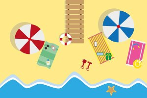 Summer beach in flat design, sea sid