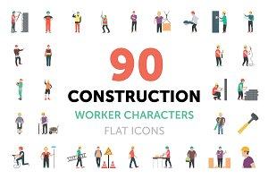 90 Construction Worker Characters