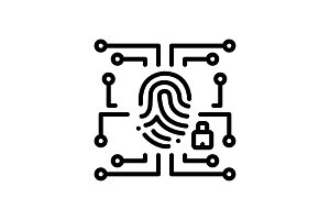 Biometric data security icon