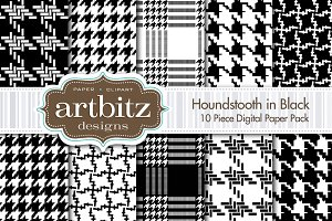 Houndstooth in Black Digital Paper