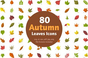 80 Autumn Leaves Icons