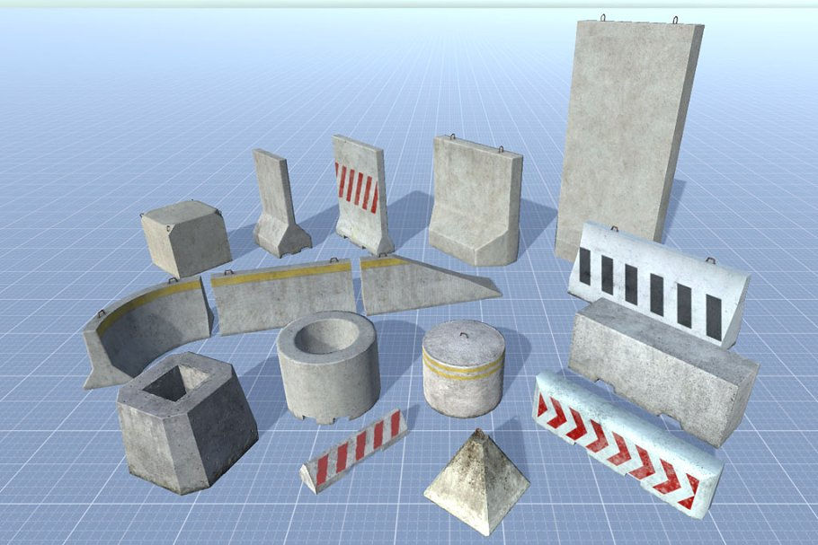 16 Concrete Barriers - Big Pack