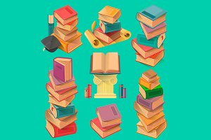 Set of book stacks in flat design