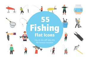 55 Fishing Flat Vector Icons