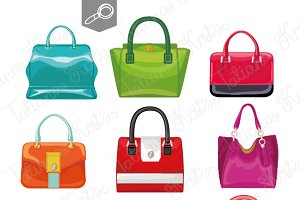 9 Colored women's handbags. Vector
